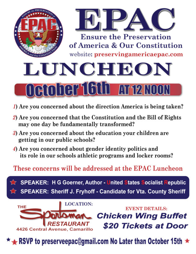 EPAC Luncheon October 16th of 2021 at the Sportsman Restaurant